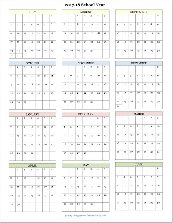 2018 and 2020 School Calendar Printable 2017 2018 School Calendar