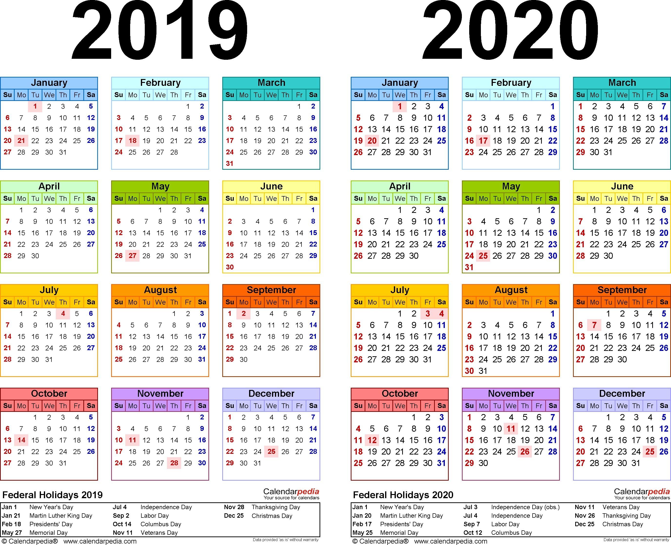 2018 and 2020 School Calendar Printable 2019 and 2019 School Year Calendar Printable 2019 2020