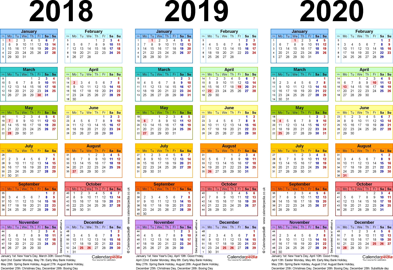 2018 and 2020 School Calendar Printable