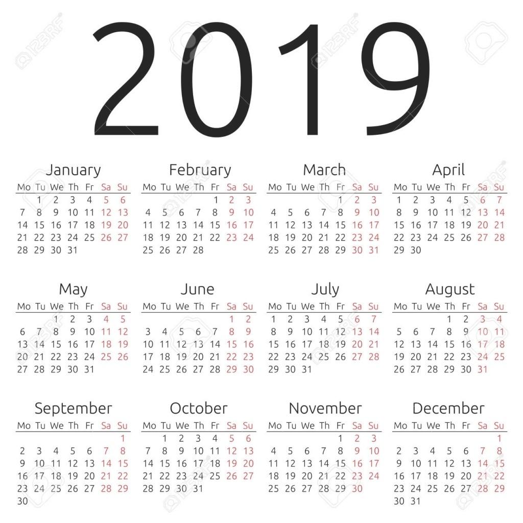 2019 12 Month Printable Calendar 12 Month Printable Calendar 2019