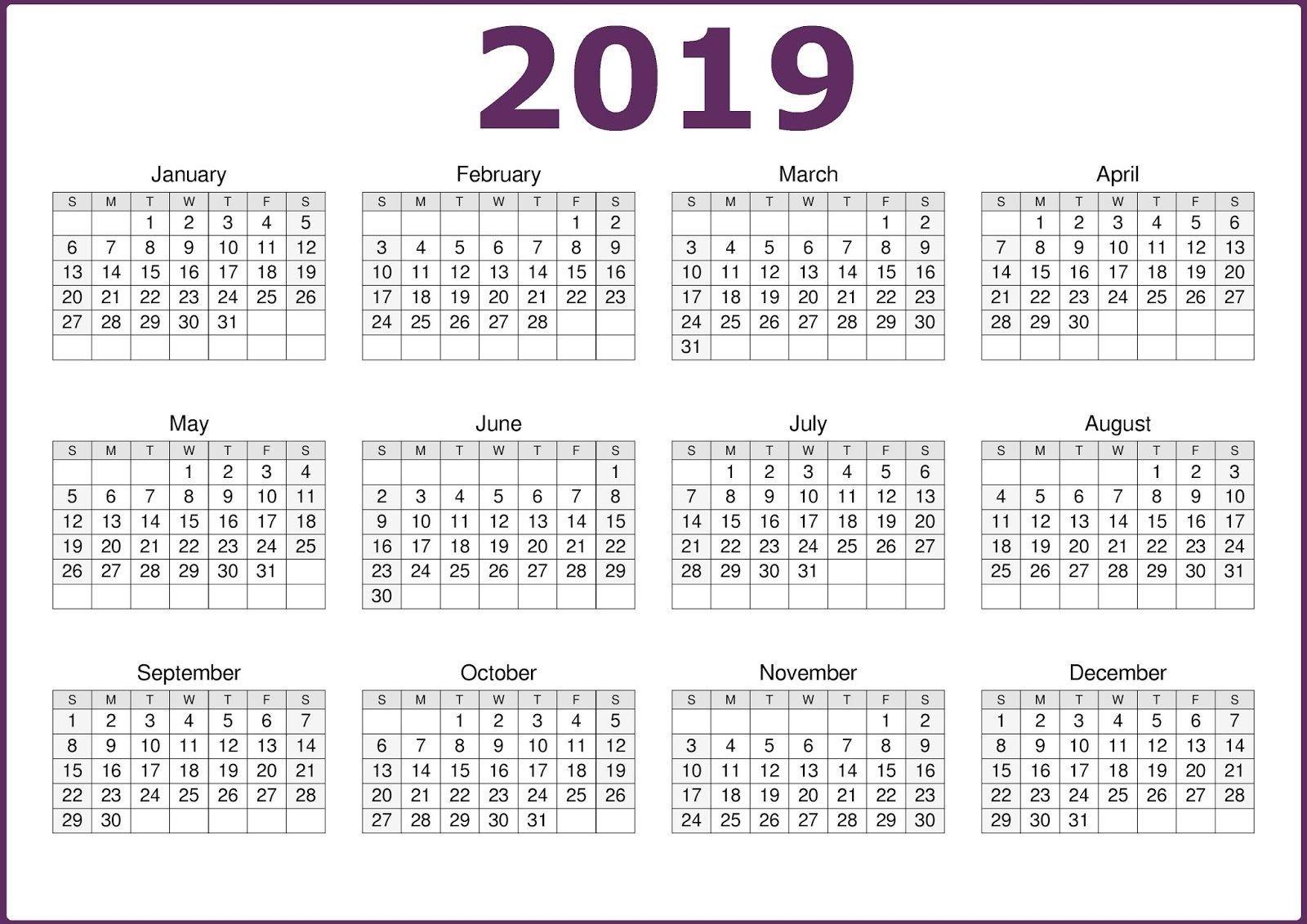 2019 12 Month Printable Calendar