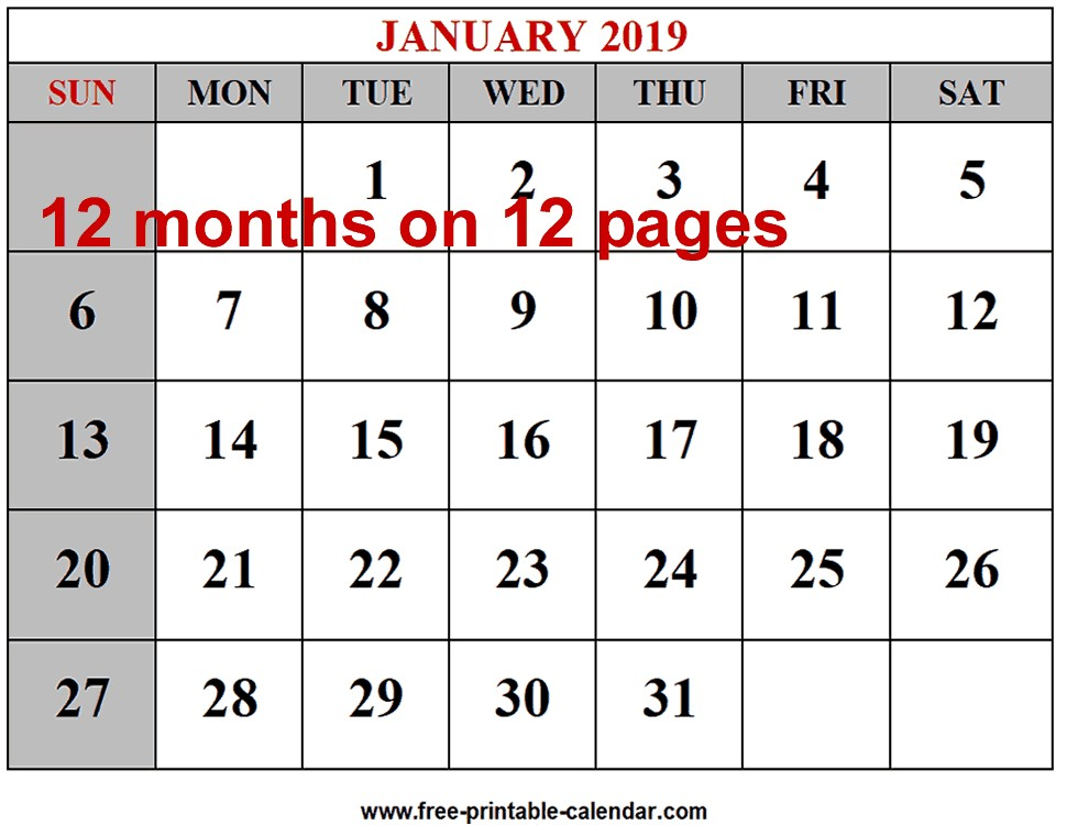 Free Printable 2019 Calendars Free 2019 12