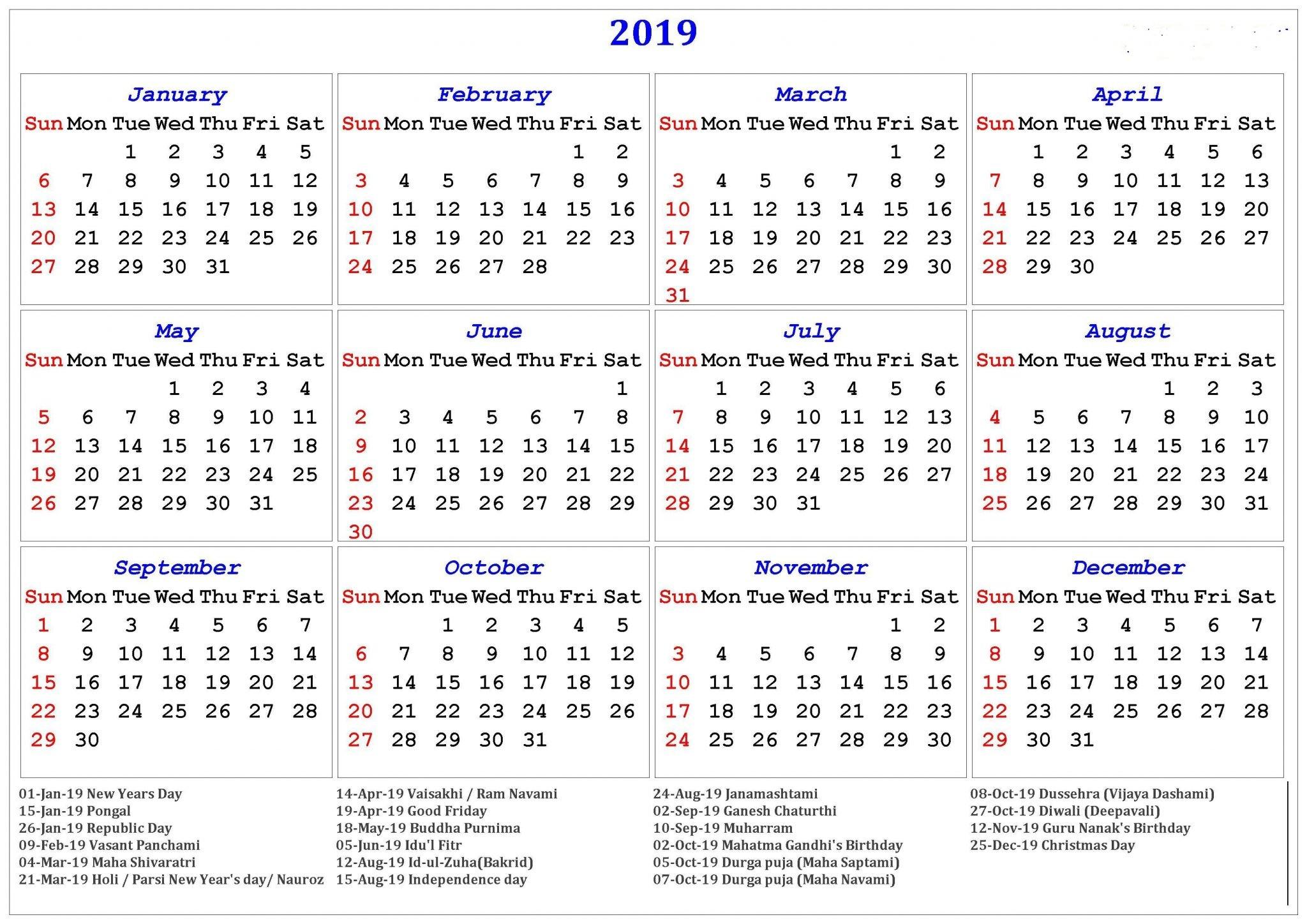 2019 12 Month Printable Calendar Free Printable Calendar 2019 In Pdf Word Excel Template