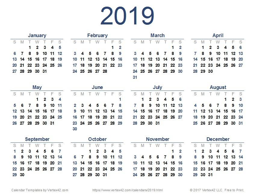 Printable 12 Month Calendar 2019 2019 Calendar Templates