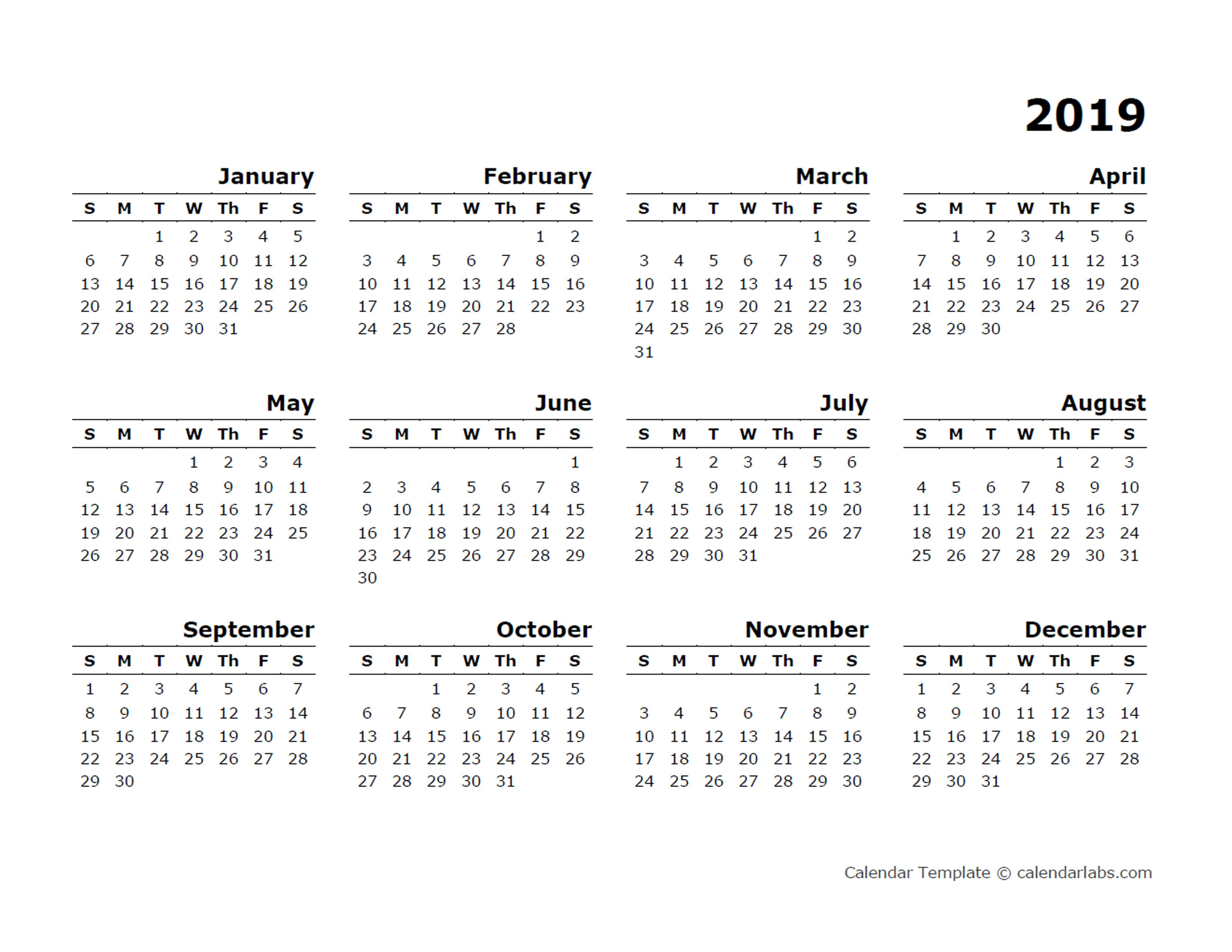 2019-2019 Calendar Printable 2019 Yearly Calendar Blank Minimal Design Free Printable