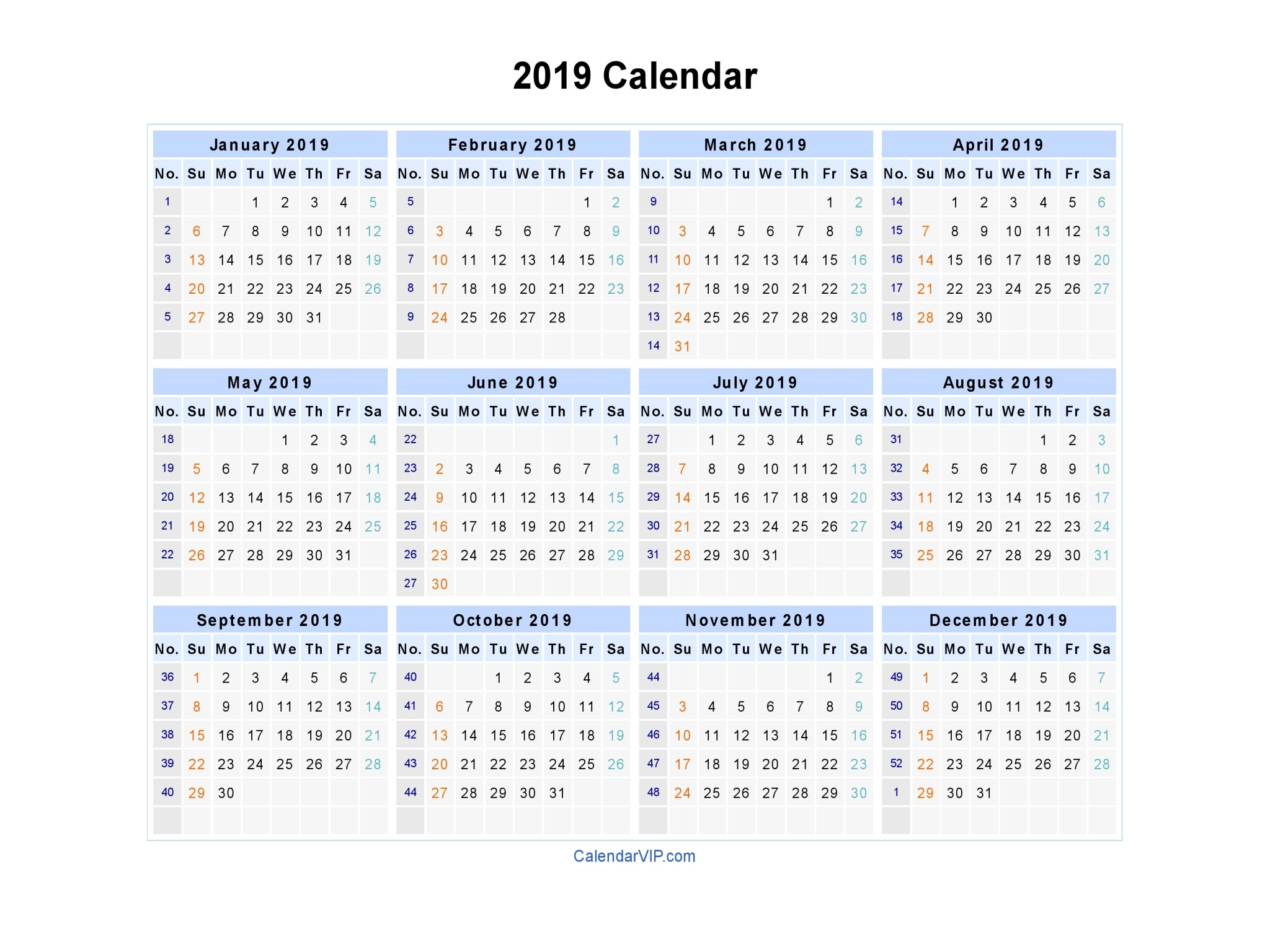 Blank Monthly Calendar 2019