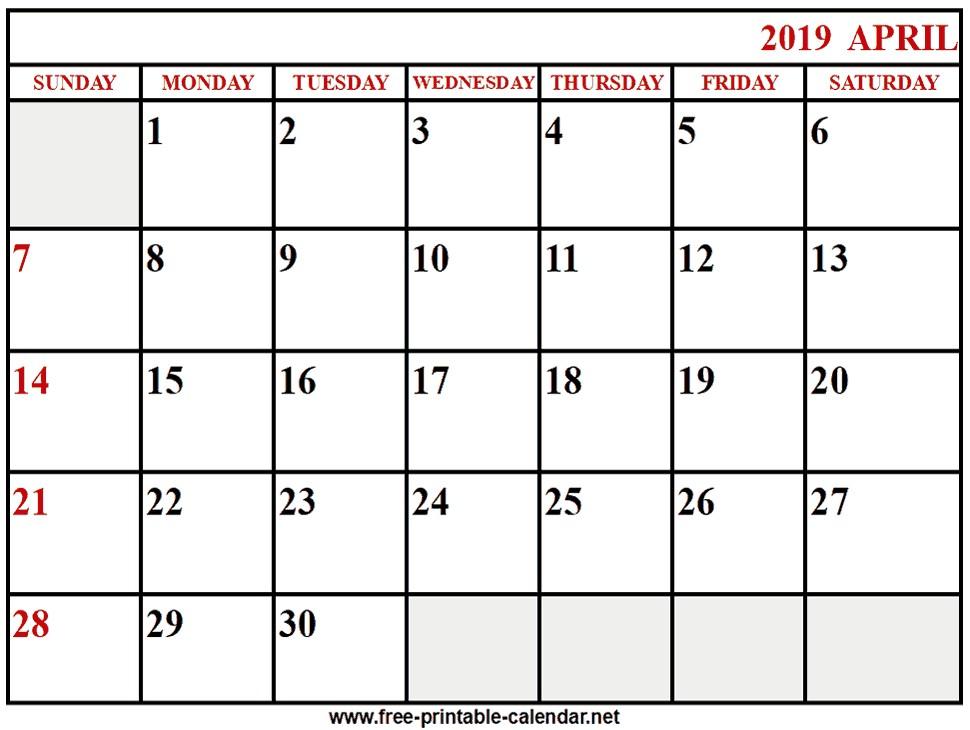printable 2019 Calendar April