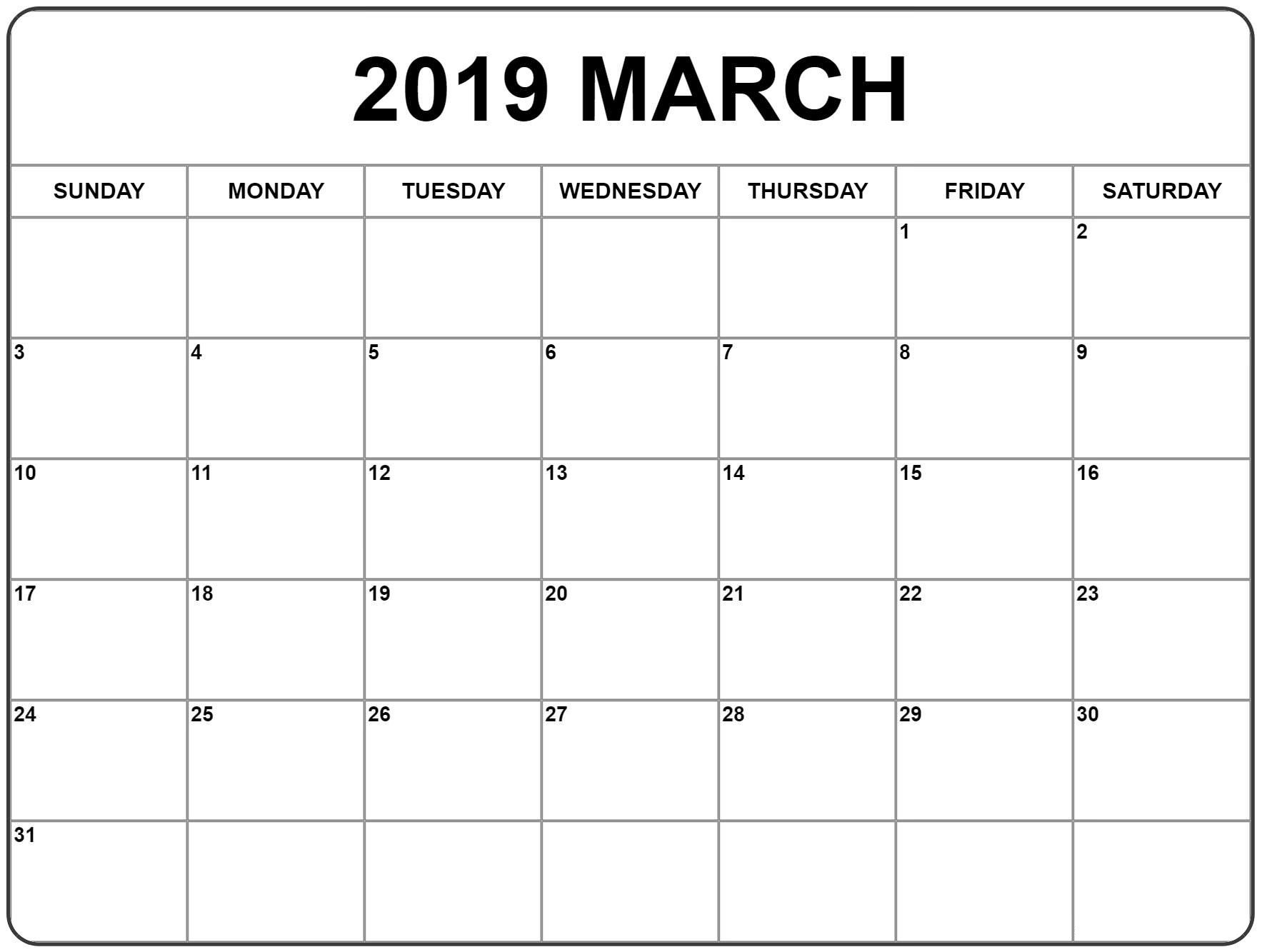 March 2019 Calendar Page Free Printable – Printable 2018