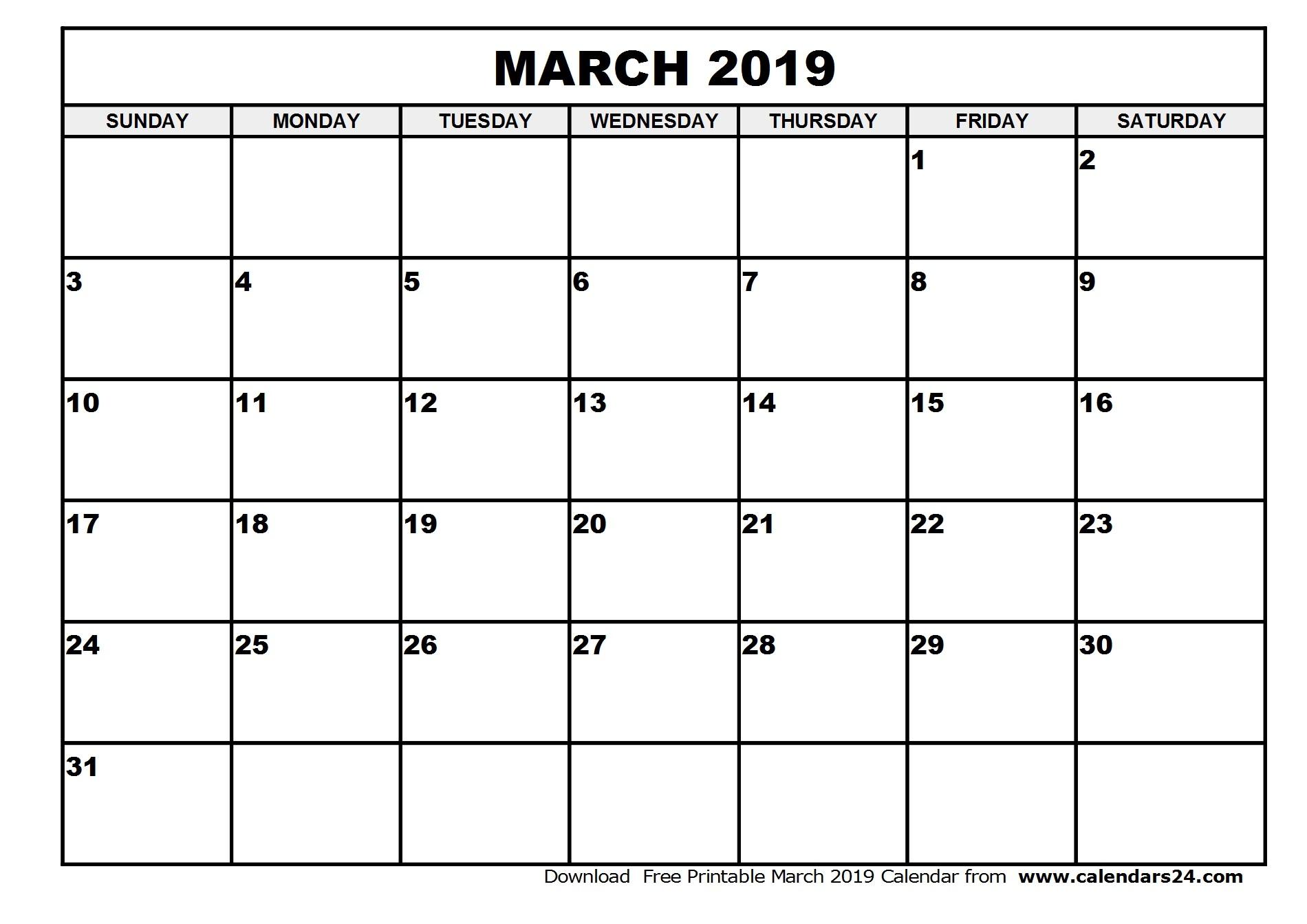 2019 and 2019 Printable Calendars