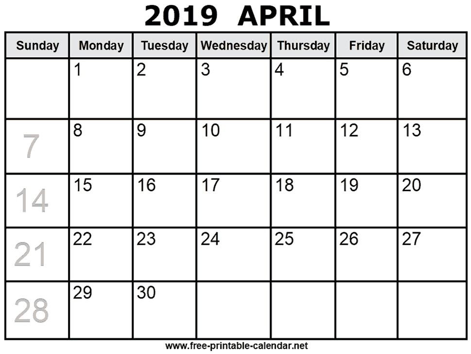 2019 and 2019 Printable Calendars Print April 2019 Calendar
