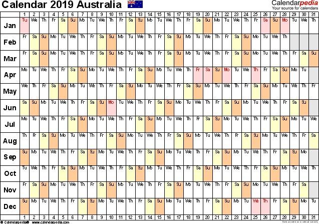 2019 Australian Calendar Printable Australia Calendar 2019 Free Printable Pdf Templates