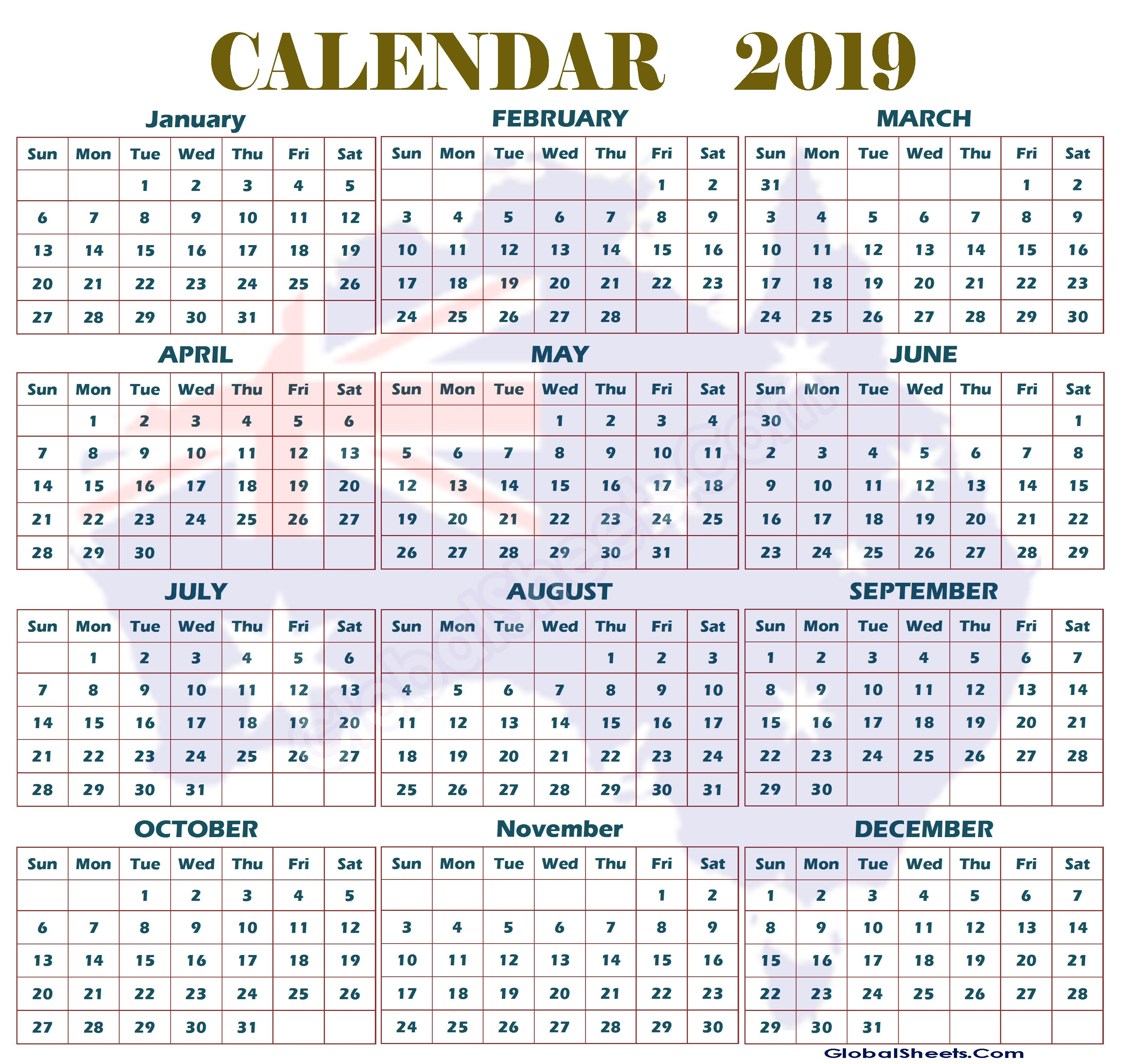2019 Australian Calendar Printable Australian Calendar 2019 Printable 2019 Yearly Calendar