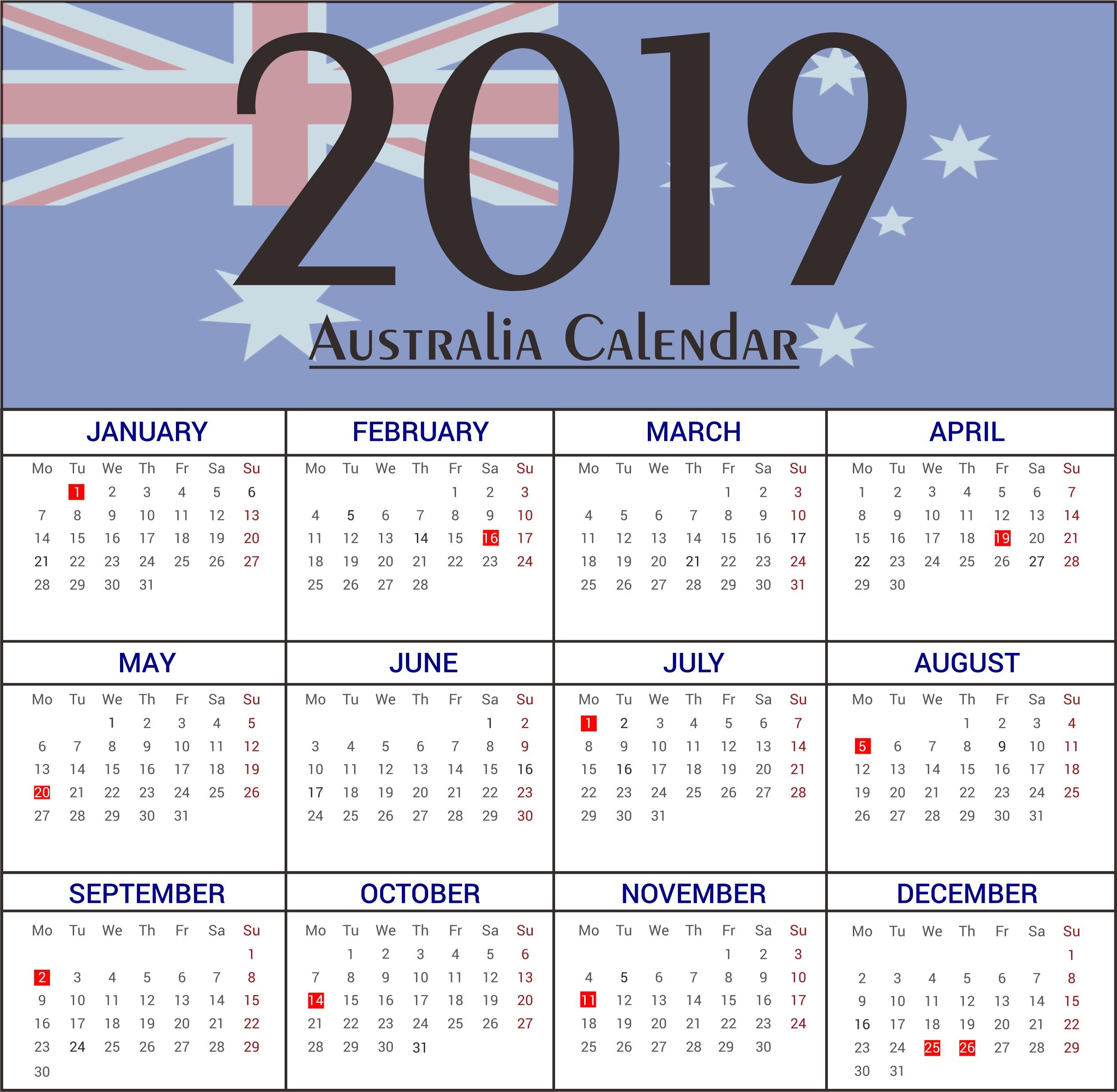 2019 Australian Calendar Printable Free Australia Bank Holidays 2019 Calendar Templates