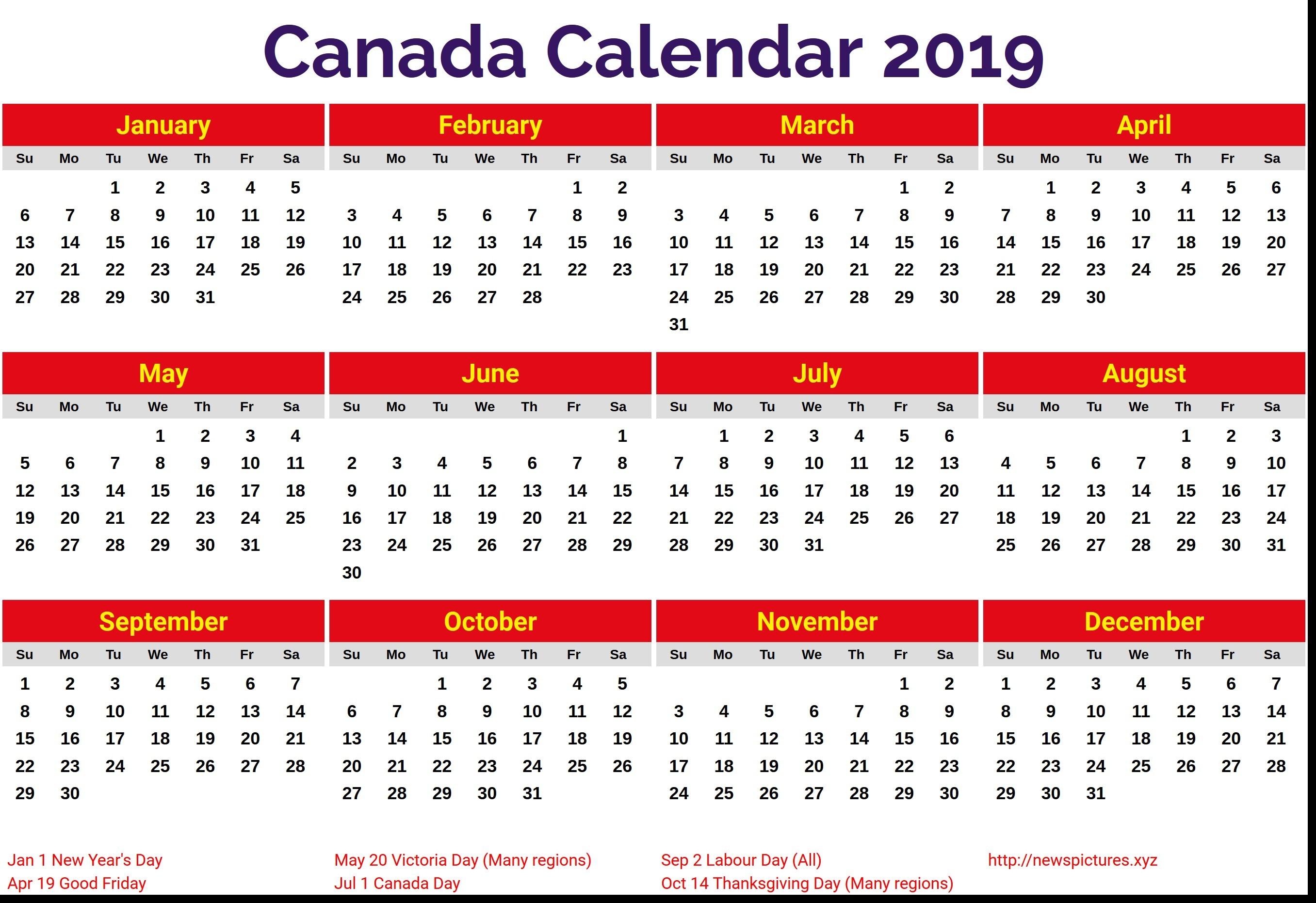 2019 Calendar Canada Printable Canada 2019 Calendar – Free