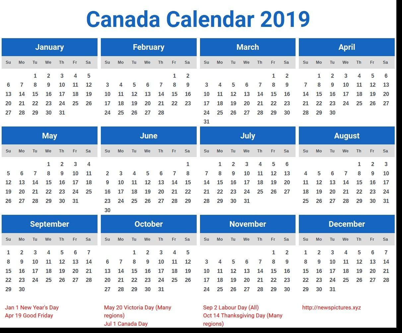 2019 Calendar Canada Printable Canada Calendar 2019 – Free