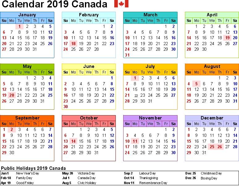 2019 Calendar Printable Canada