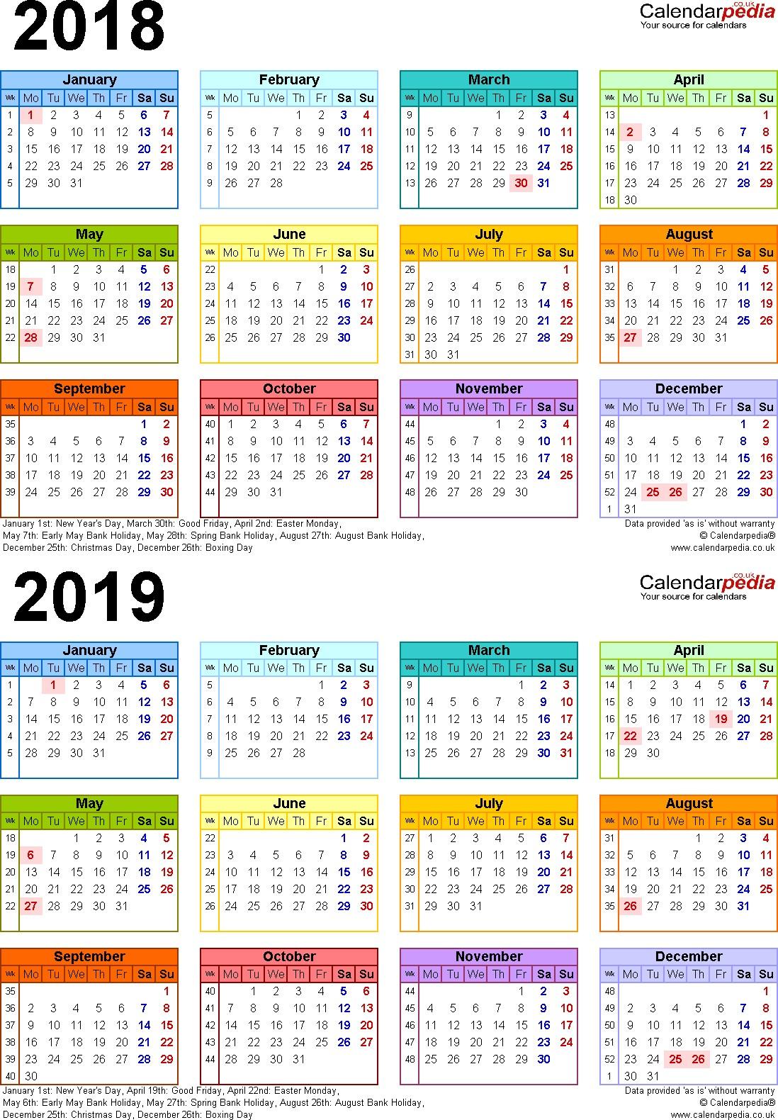 2019 Calendar Printable Uk 2019 Calendar Canada