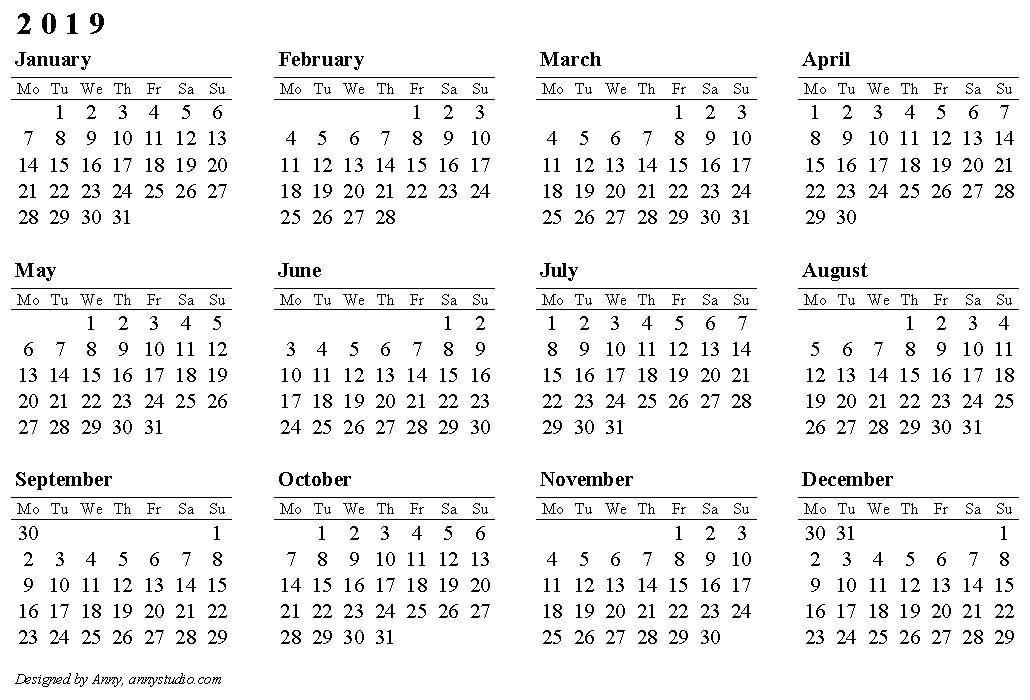 2019 Calendar Word Printable 2019 Calendar Printable