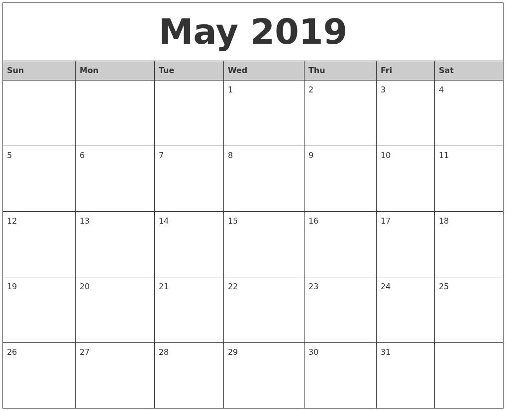 2019 Calendar Word Printable