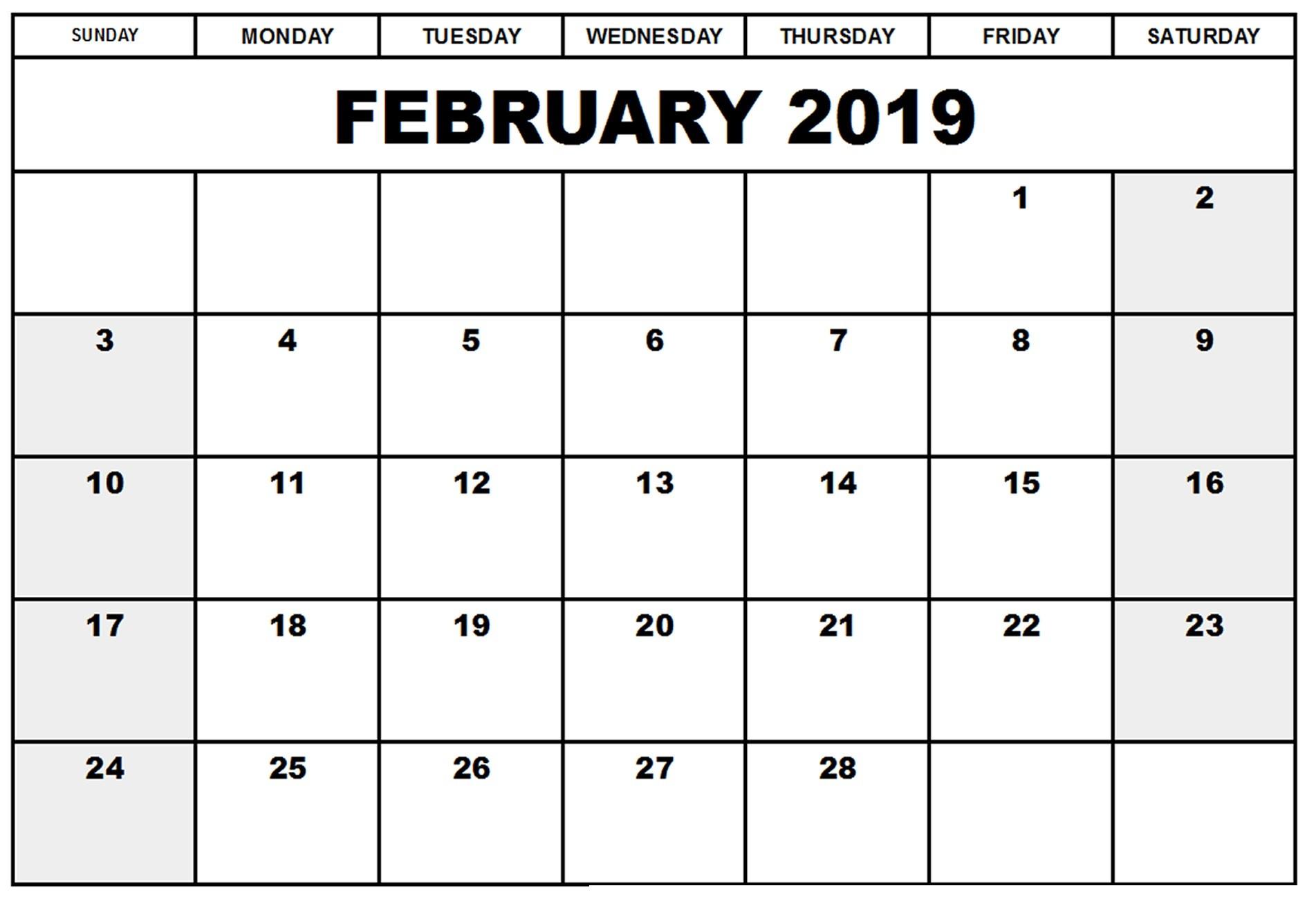 2019 Calendar Word Printable Free Blank A4 February 2019 Calendar Pdf Excel Word