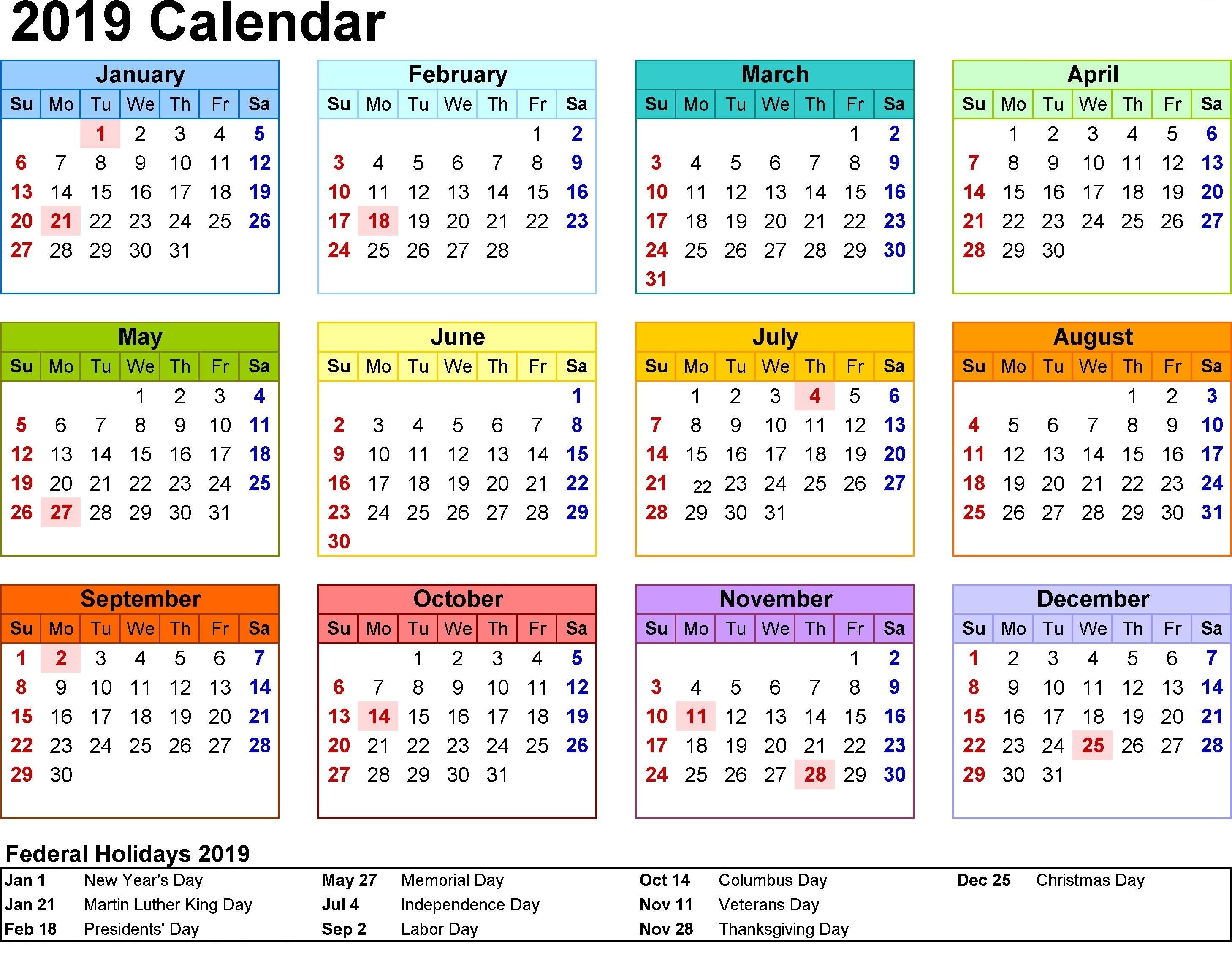2019 Free Printable Calendars with Holidays