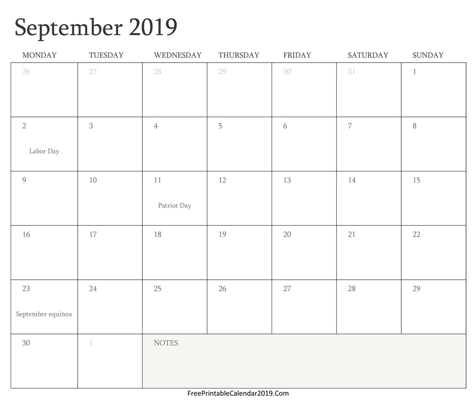 2019 Free Printable Calendars with Holidays September 2019 Calendar Templates