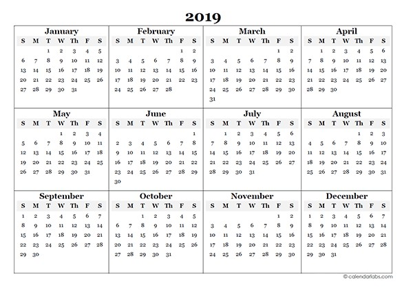 2019 Full Year Calendar Printable