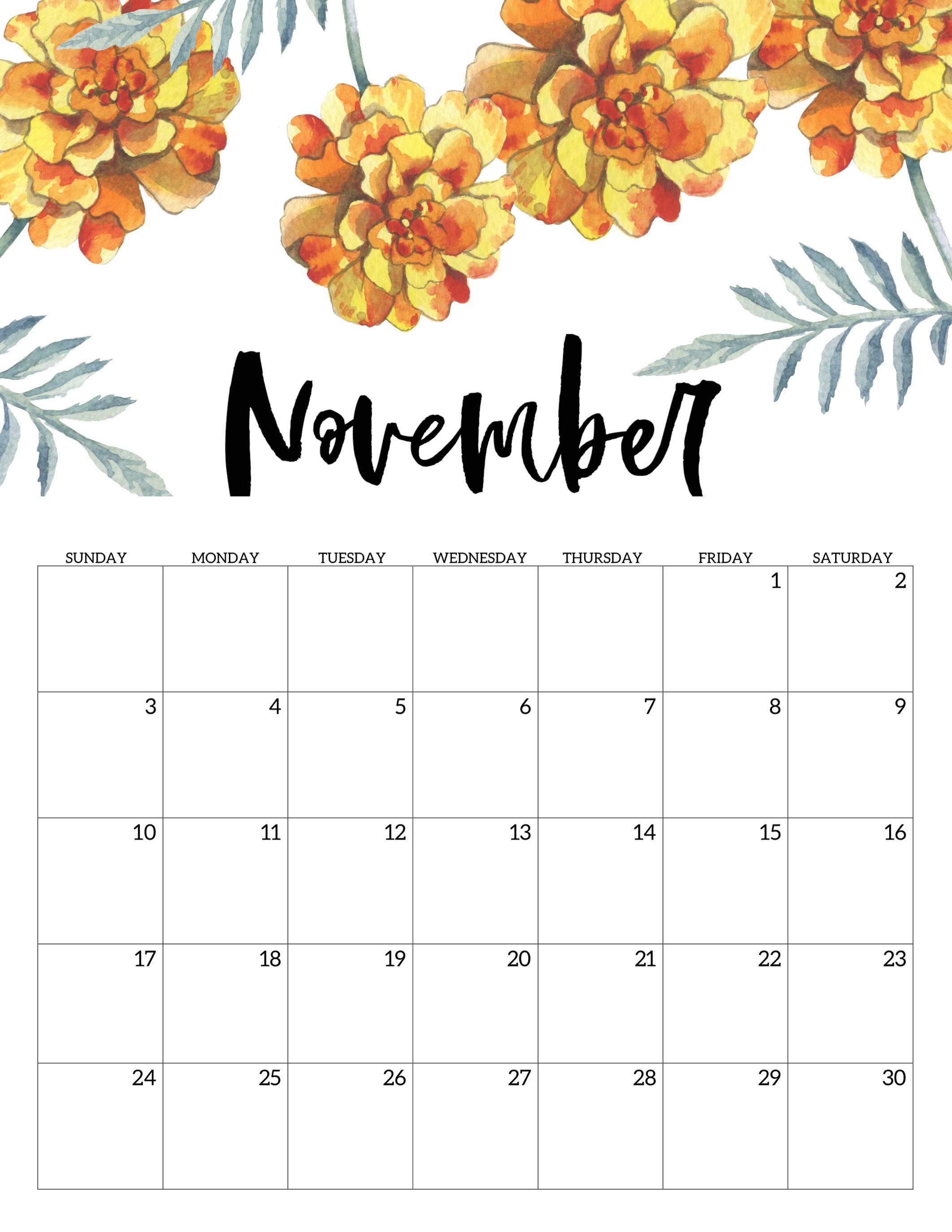 2019 November Printable Calendar Free Printable Calendar 2019 Floral Paper Trail Design