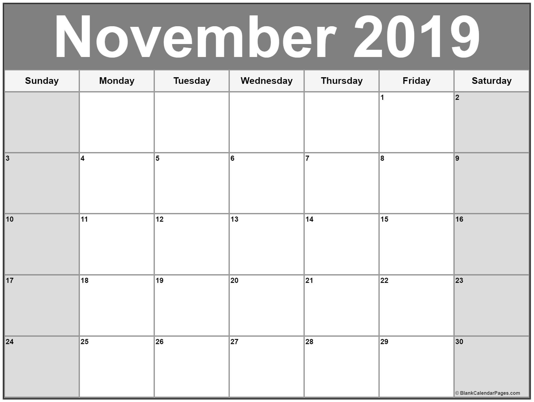 2019 November Printable Calendar November 2019 Calendar