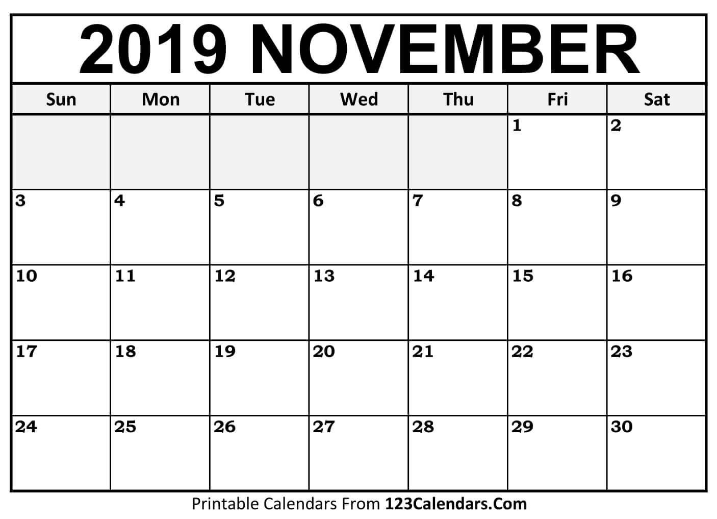 Printable November 2019 Calendar Templates 123Calendars