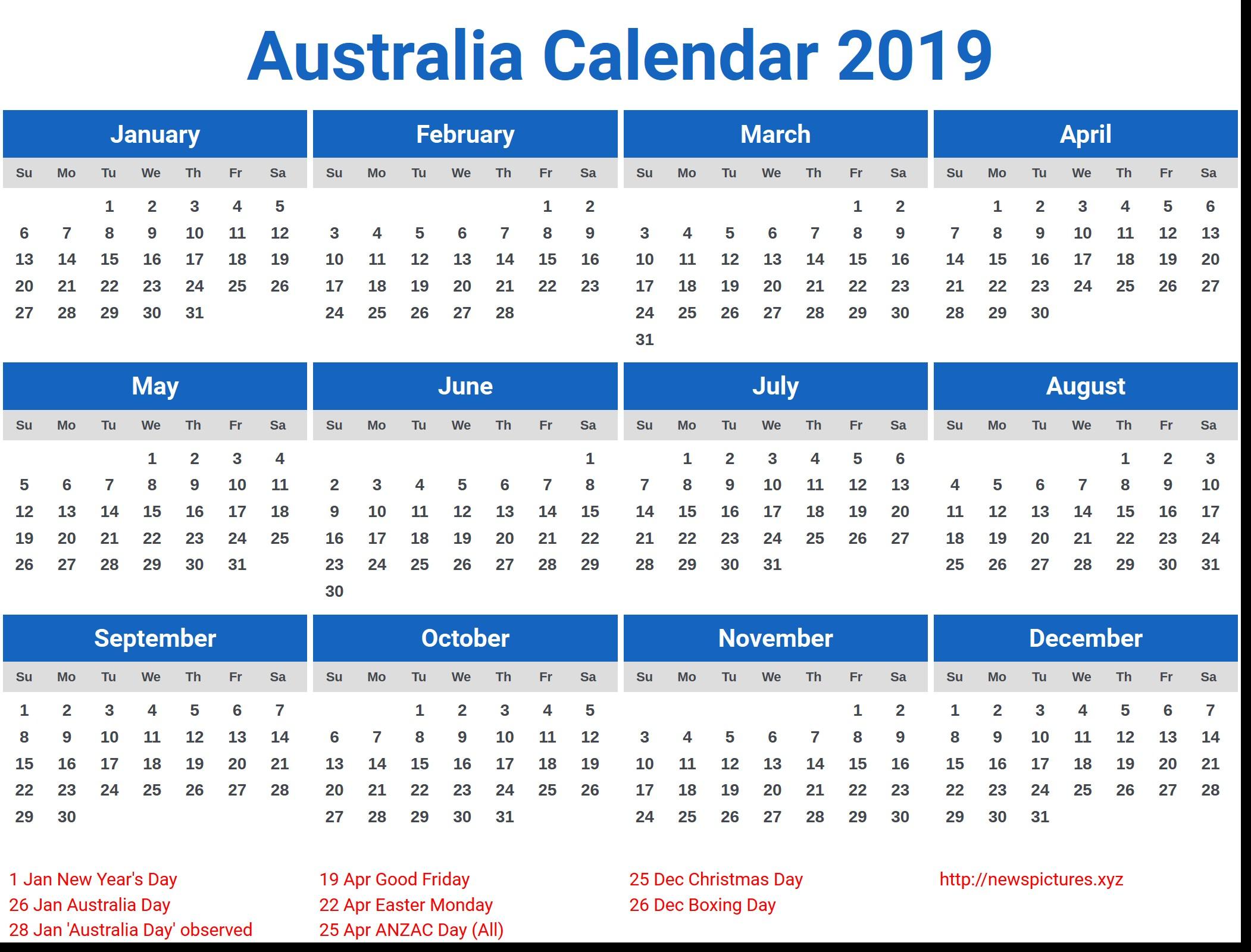 2019 Printable Calendar Australia 2019 Calendar Australia