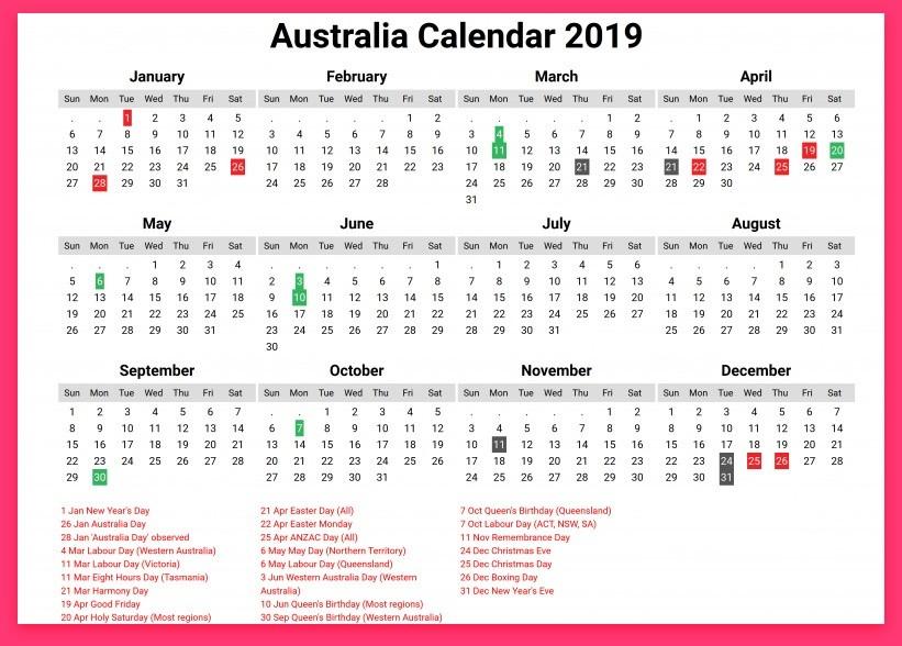 2019 Printable Calendar Australia Australia 2019 Printable Calendar with Holidays Festivals