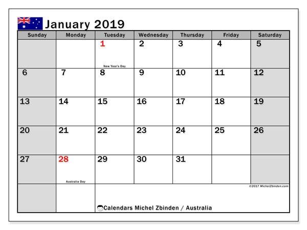 Calendar January 2019 Australia Michel Zbinden EN