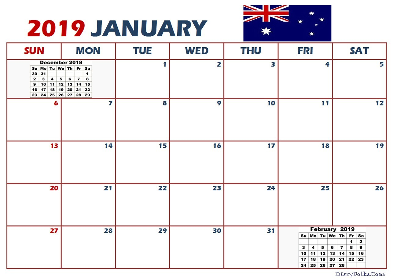 2019 Printable Calendar Australia January 2019 Calendar Australia Letter & Calendar