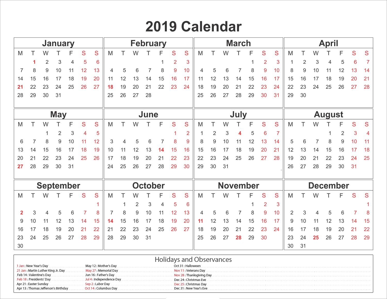 2019 Printable Calendar Yearly Free Printable Calendar 2019 Templates