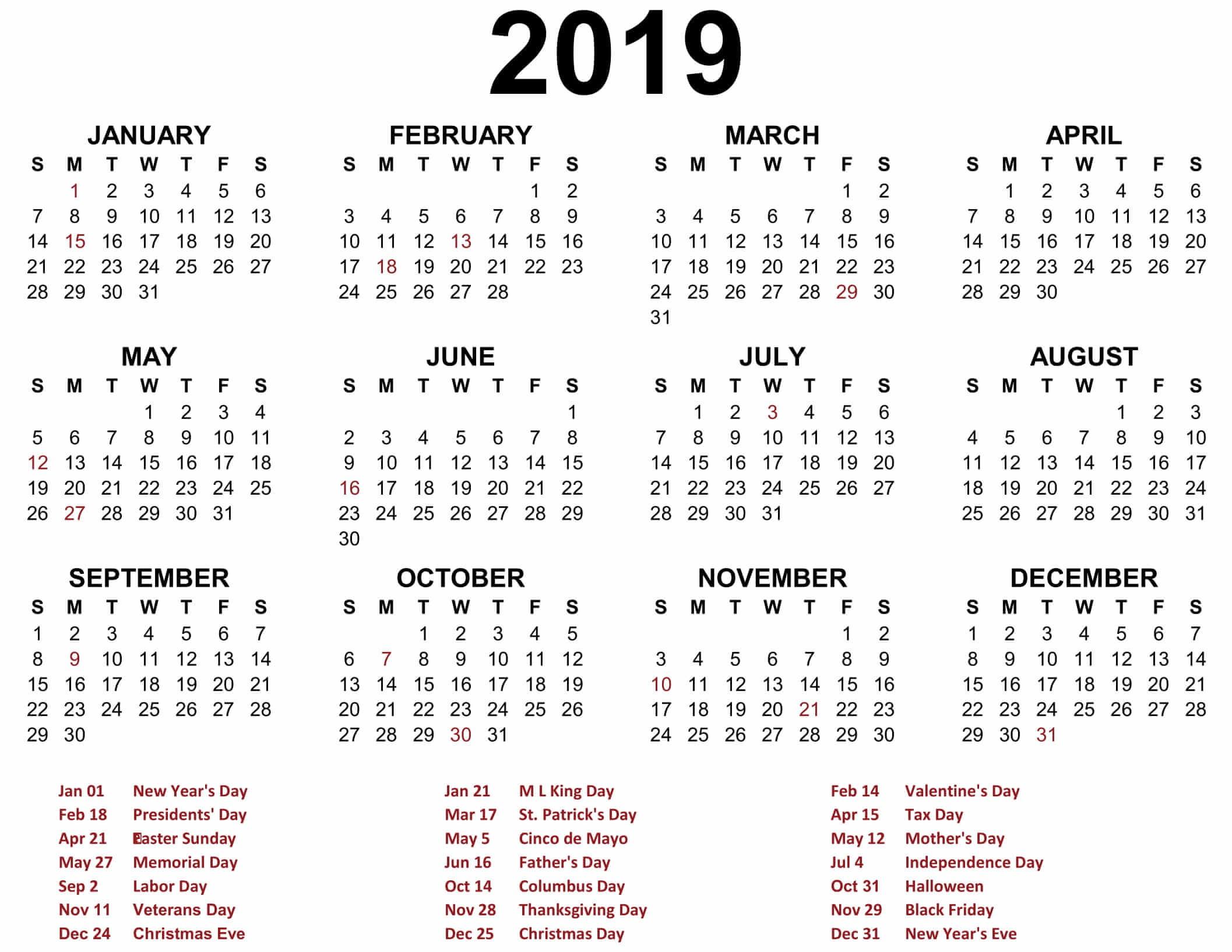 2019 Printable Calendar Yearly Printable Blank 2019 Calendar Templates Calenndar