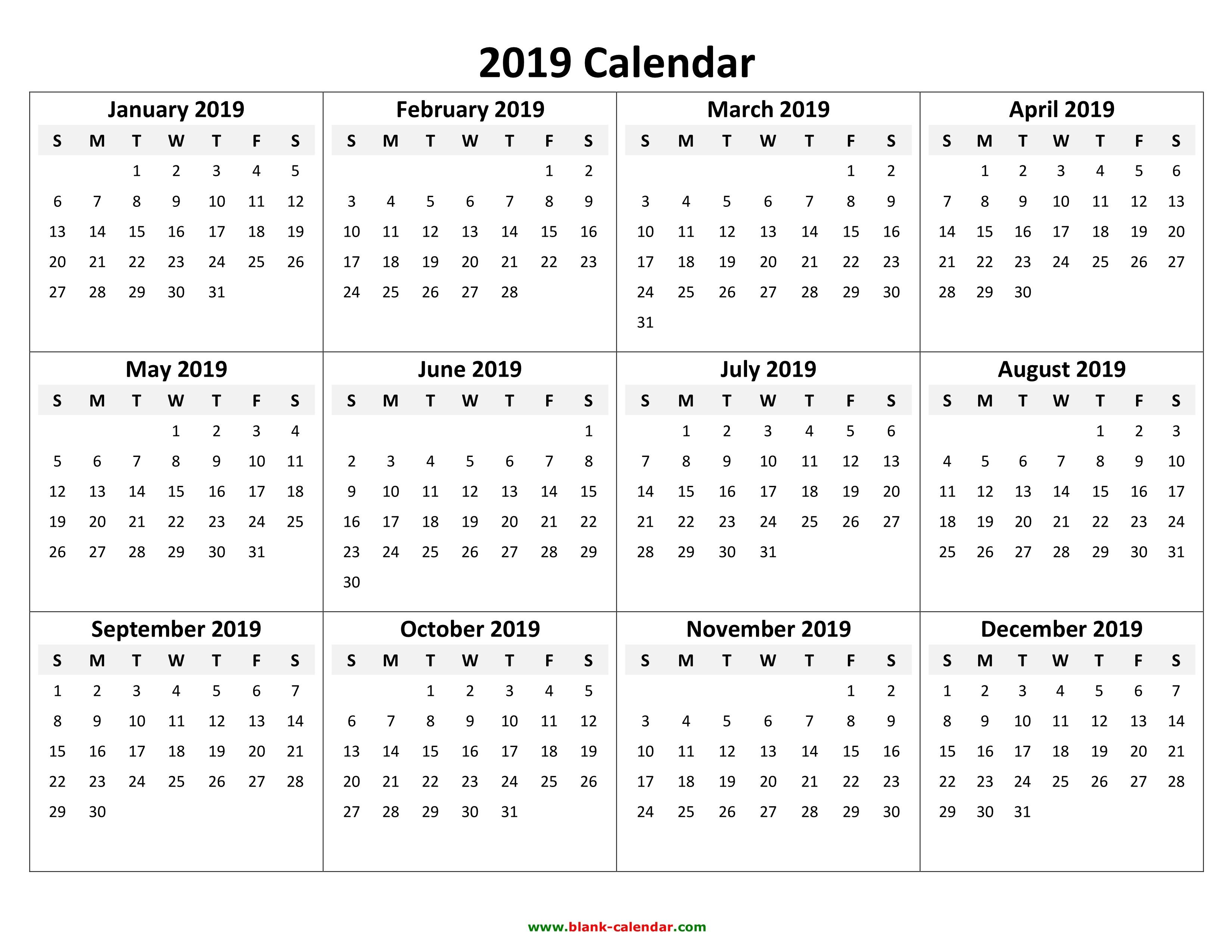 2019 Printable Calendar Yearly