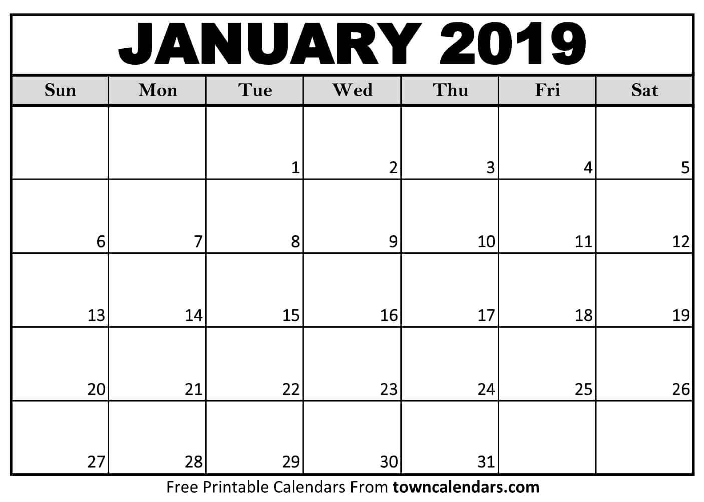 2019 Printable January Calendar