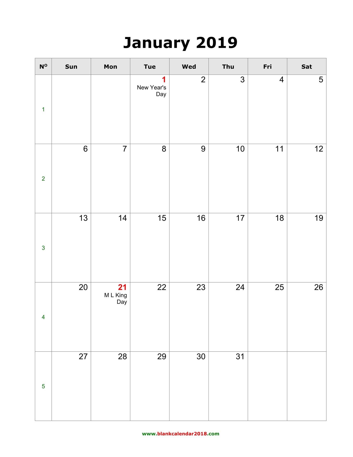 blank monthly holidays calendar 2019 portrait