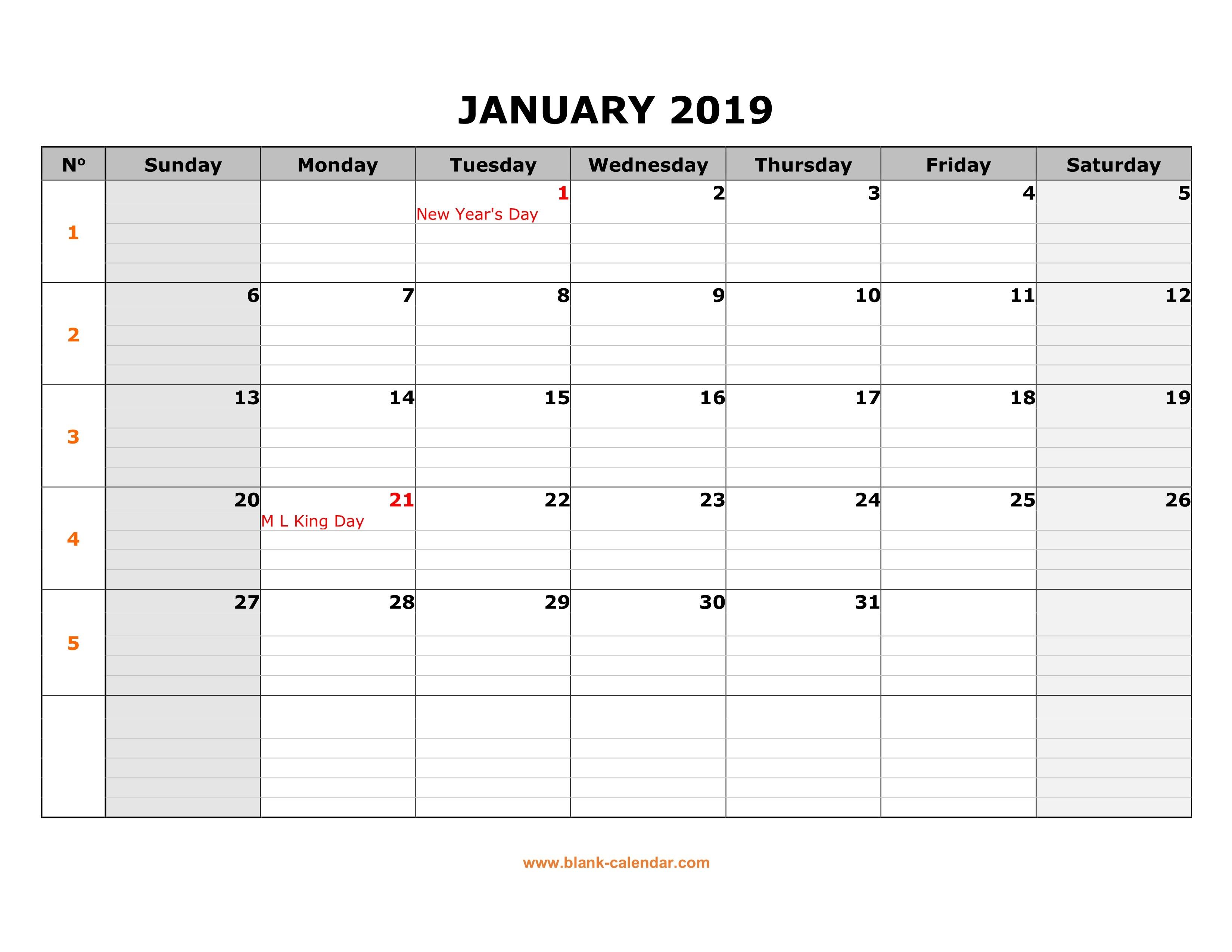 2019 Printable Monthly Calendar Free Free Download Printable Calendar 2019 Large Box Grid
