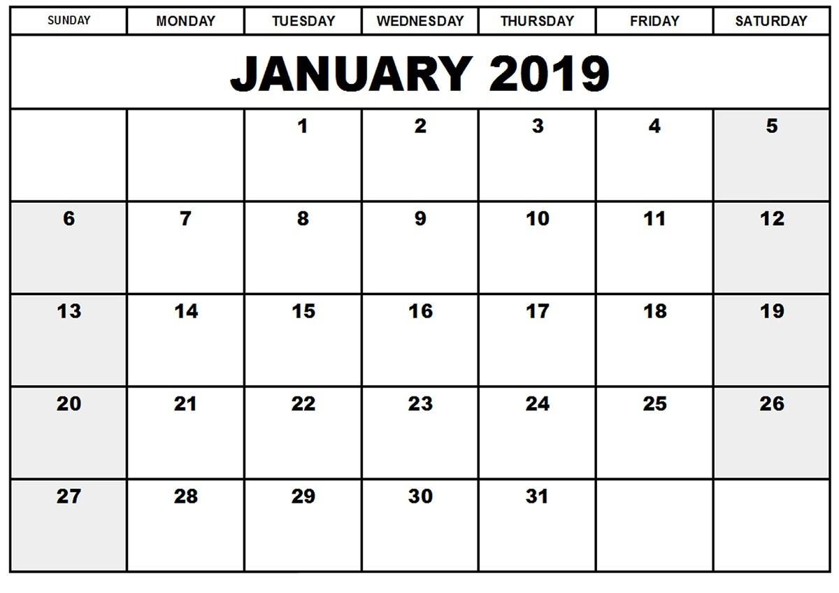 2019 Printable Monthly Calendar Free January 2019 Calendar
