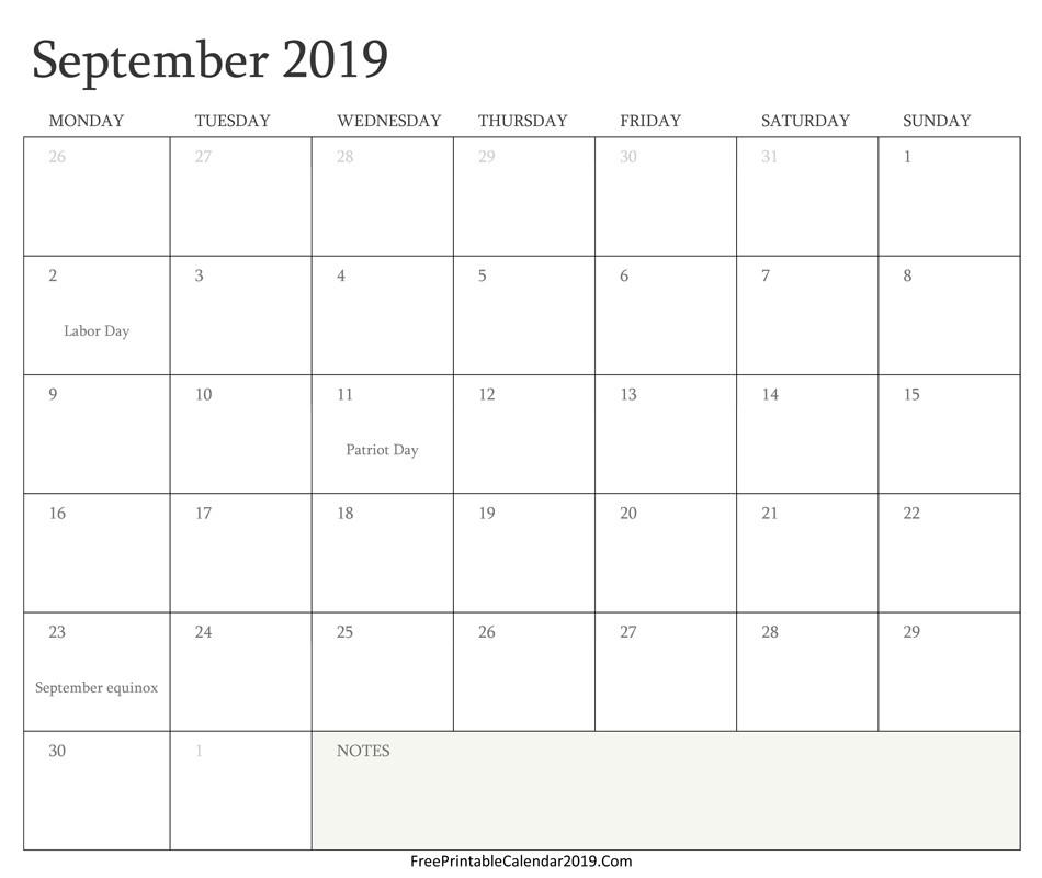 September 2019 Calendar Templates