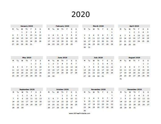 Free line Printable Calendars 2020 2020 Calendar Free