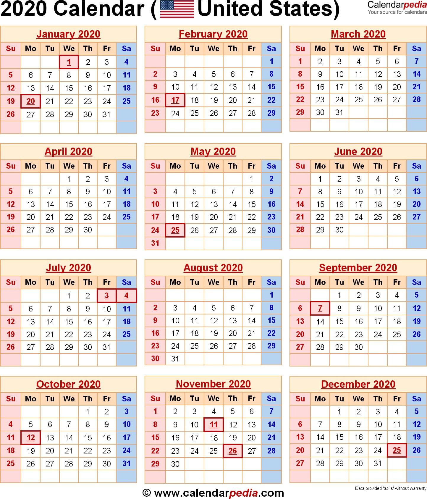 Free Printable Calendars 2020 and 2020