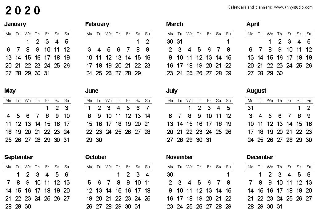 2020-2020 Printable Calendar Free Printable Calendars and Planners 2019 2020 2021