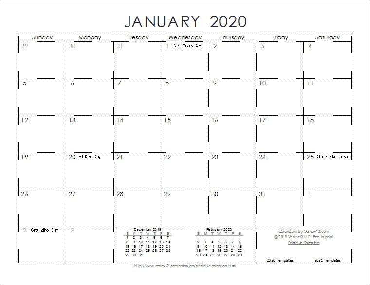 Full Page Printable Calendar 2020 2020 Calendar Templates