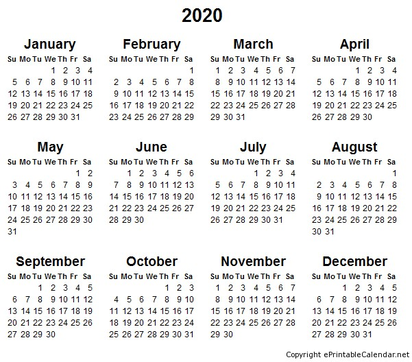 Printable Calendar 2019 2020 2018 Calendar with Days