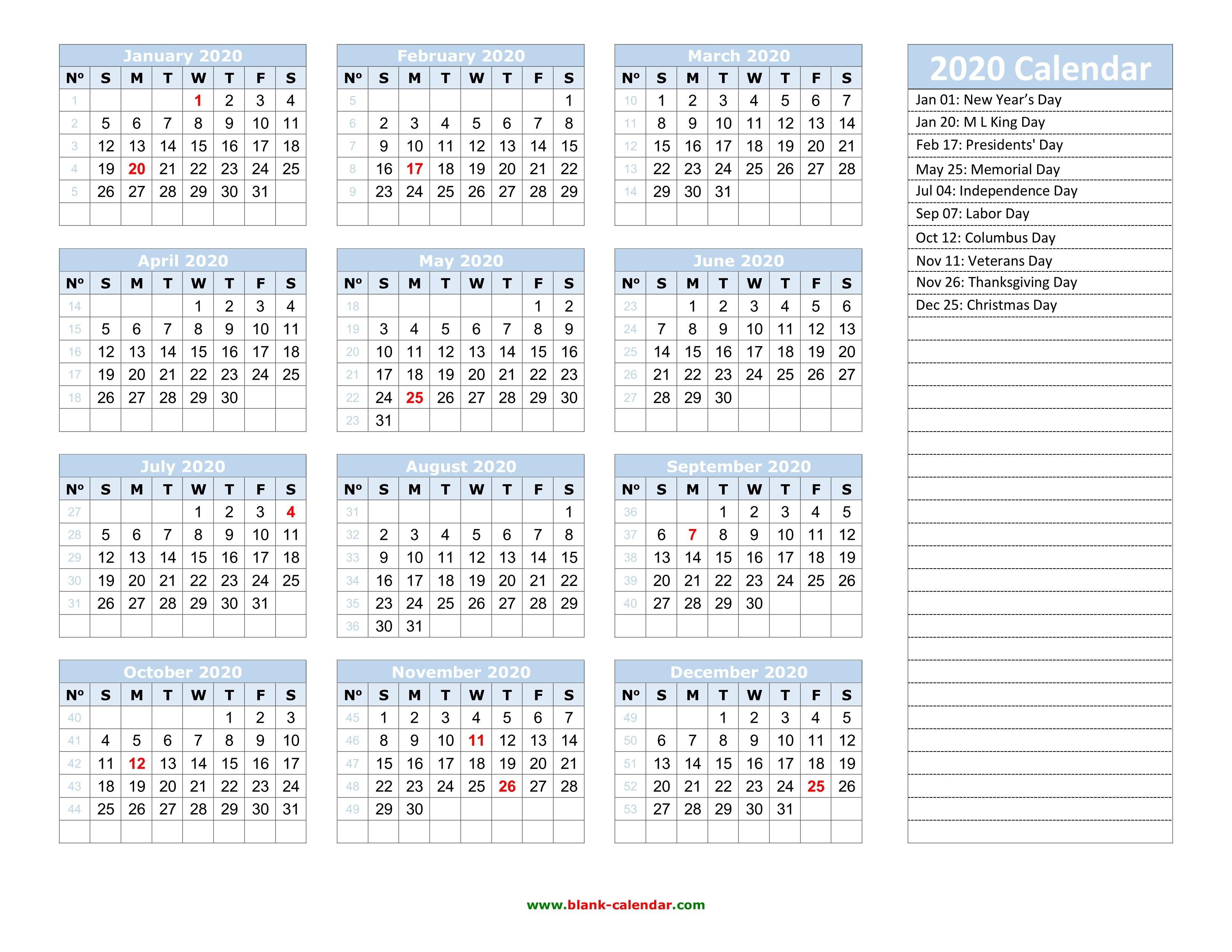 2020-2020 Printable Calendar Yearly Calendar 2020