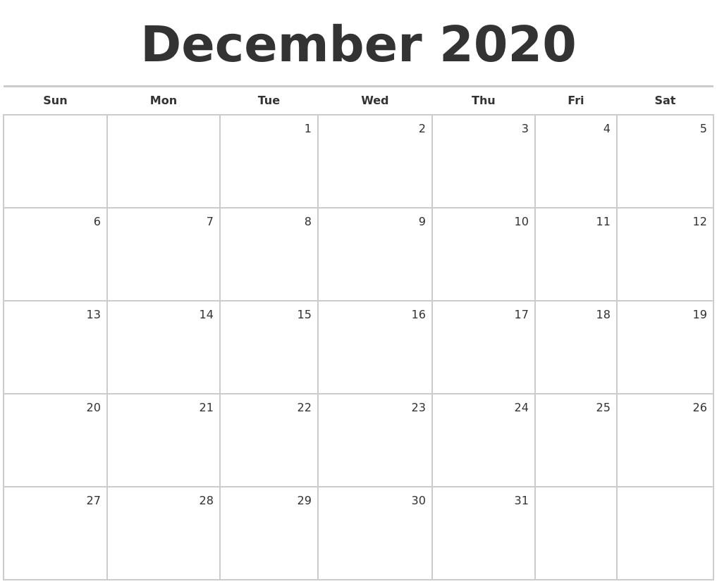 2020 Blank Monthly Calendar Printable December 2020 Blank Monthly Calendar