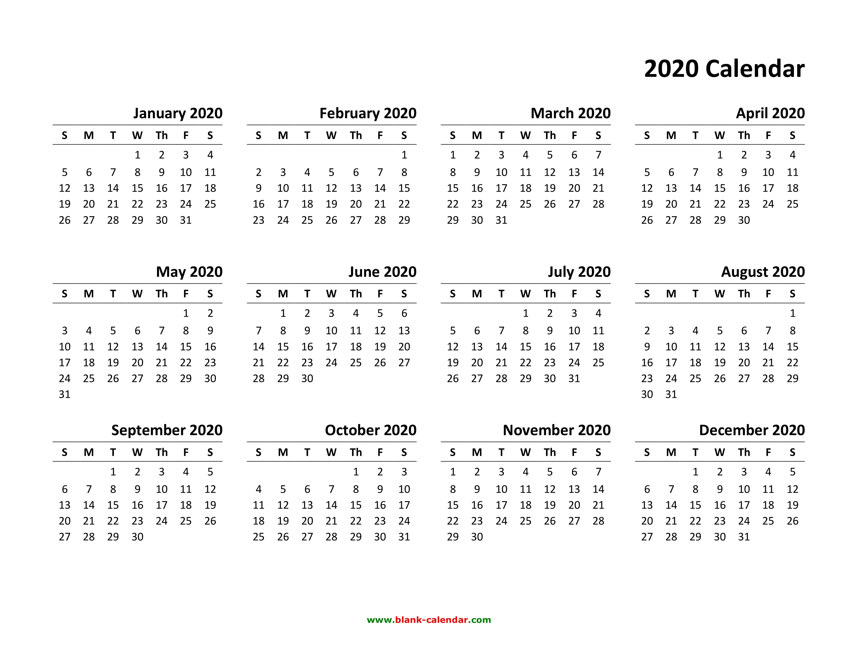 2020 Calendar Template Printable Yearly Calendar 2020